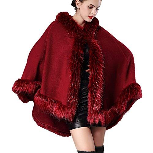 Bonne Duveteux Capuchon Mode Chaud Coat Hiver Qualité Manteau Femme Poncho Châle Costume Sleeveless Le De Burgund À Jeune Irrégulier qx05Ow5I