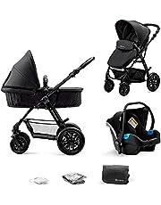 Kinderkraft Barnvagn 3-i-1 MOOV, Travel System, Barnvagnsset, Bilbarnstol, Sittvagn, Resevagn, Extra spädbarnsinlägg, 4 fjädrande gummilufthjul, Tillbehör, Svart
