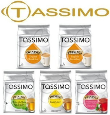 Tassimo 5 Packet Tea Mix Of Different Flavour Tea T-Discs (16 T-Discs Per Packet = 80 T-Discs In Total) (Best T Disc Flavors)