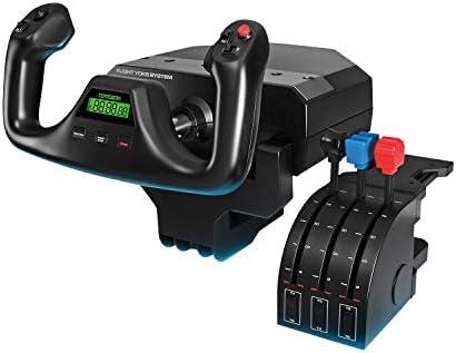 Logitech G Saitek Pro Flight Yoke System, Steuerhorn und Schubregler für Flug Simulatoren, Throttle Quadrant, 5 Achsen, Edelstahl-Höhenruder, Querruder-Steuerwelle, USB-Anschluss, PC - schwarz
