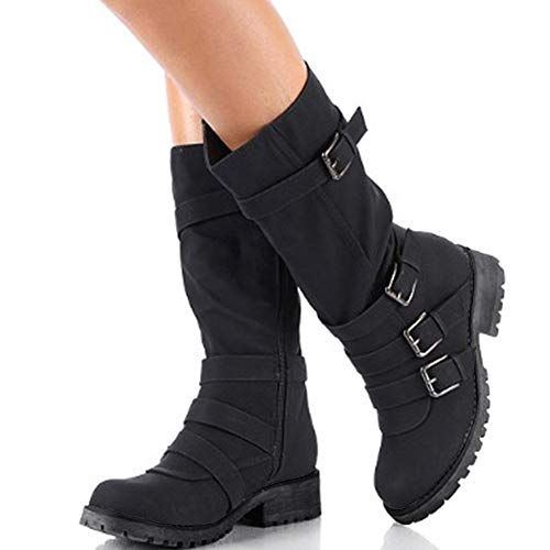 Hunleathy Women's Mid Calf Boots Buckles Combat Riding Boots Size 8 Black by Hunleathy (Image #2)
