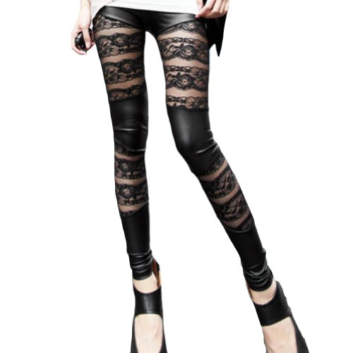 Amour-Women Lace Sheer Mesh Inset Stripes Ankle Length Footless Legging Tregging Tight One Size Black (Splicing Lace) ()