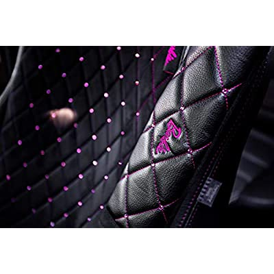 LUNNA Barbie Universal Car Steering Wheel Cover and 2 Seat Belt Shoulder Pads Kit with Pink Swarovski Diamond - Premium Universal Interior Accessories with Crystal - Fits Most Cars, Trucks and SUV: Automotive