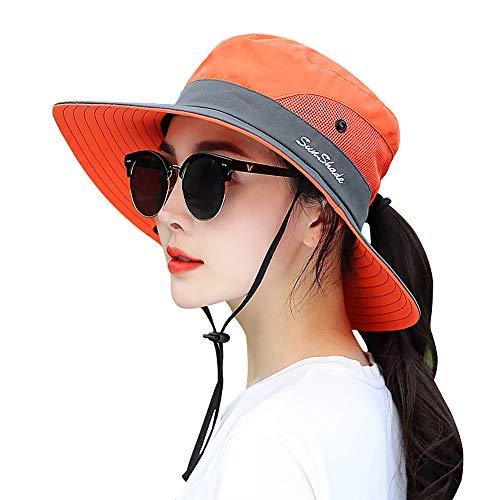 LVAIZ Waterproof Sun Hat Outdoor UV Protection Bucket Mesh Boonie Hat Adjustable Fishing Cap for Women (Kayak Hat)