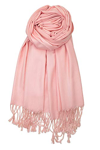 Achillea Large Soft Silky Pashmina Shawl Wrap Scarf in Solid Colors (Blush Pink)