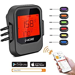 Meat Thermometer Wireless Remote Digital Cooking Food Thermometer Magnetic Smart Bluetooth Meat Thermometer With 6 Probe For Grilling Smoker Bbq Kitchen Baking Steak