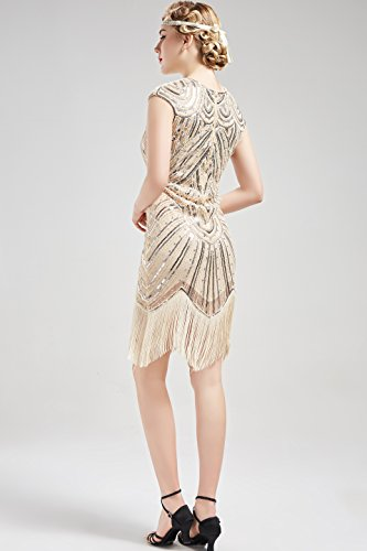 c1e221343e2 BABEYOND Women s Flapper Dresses 1920s Beaded Fringed Great Gatsby Dress ( Beige + Crystal Decorations