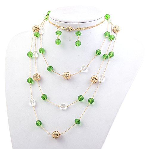 New Beautiful Fashion 3 Layer Handmade Jewelry Set Long Illusion Necklace (plated ()