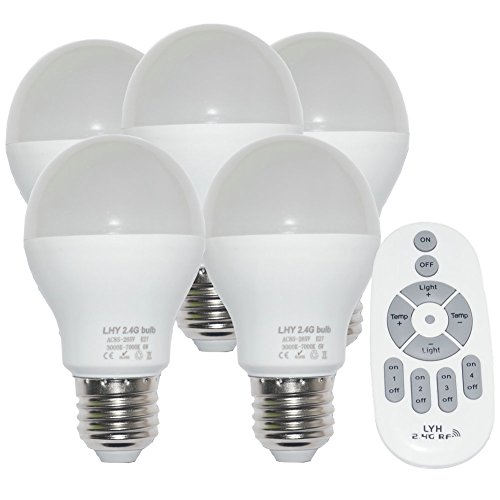 Fjiangyi 6W E27 Smart LED Light Bulbs Dimmable with 2.4GHz Wireless 4-Zone Remote Control - Adjustable Color Temperature (Warm/Cool) and Brightness 5 Pack (5 Bulb+1 Remote)