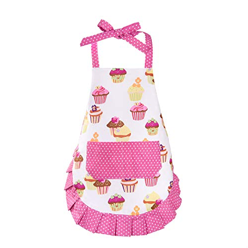 (Sevenstars 100% Cotton Kids Girls Aprons, Cupcake Pattern Cute Baking Apron Adjustable Kitchen Apron for Children Daughters Little Girls)