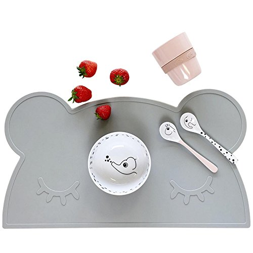 Kids Placemat - Eating with Sweet Bear, Silicone Placemat For Kids, Waterproof Baby Placemat, Portable Food Mat Travel Placemat for Toddler, Non Slip Silicone Placemat Easy Clean Reusable Mat Grey