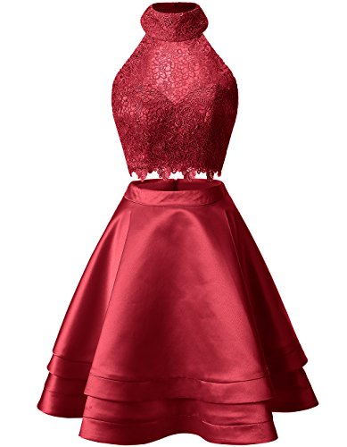 Neck Homecoming Short Piece Two Red Lace Gowns Dresses Dark High Prom ALAGIRLS Satin Cocktail q6twgx