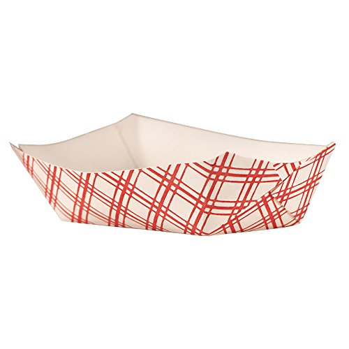 Empress EFT40 Plaid Food Tray, 6 oz. Capacity, 6'' Height, 14'' Width, 3.625'' Length, Red (Pack of 1000)