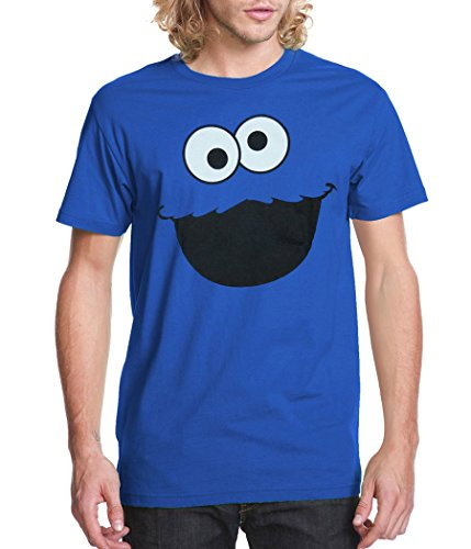 [Sesame Street Cookie Monster Face Adult T-Shirt-Large] (Sesame Cookie Monster)
