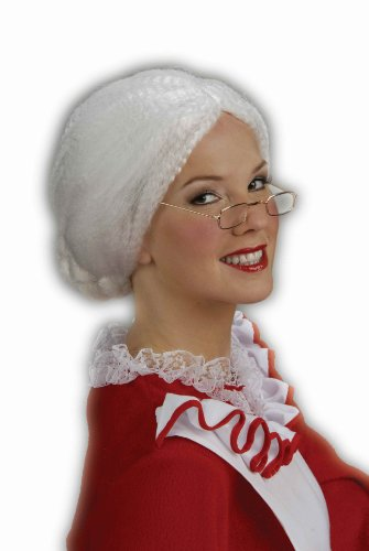 Forum Novelties Women's Holiday Mrs. Santa Costume Wig, White, One Size -