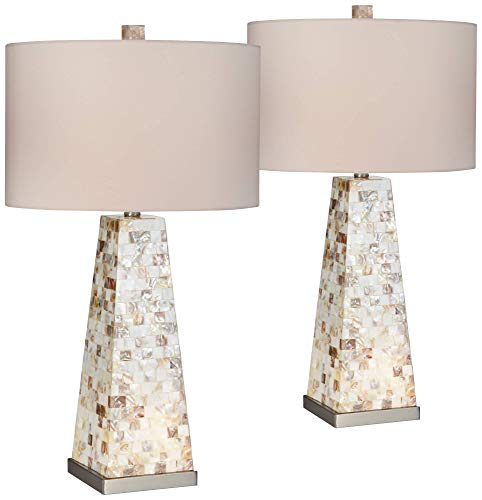 Lorin Coastal Table Lamps Set of 2 with Nightlight Mother of Pearl Handmade White Drum Shade for Living Room Bedroom - Possini Euro Design - Pearl White Shade