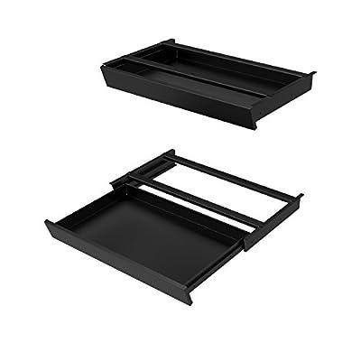 Sliding Under-Desk Pencil Drawer - Black Standing Desk Add-On Drawer