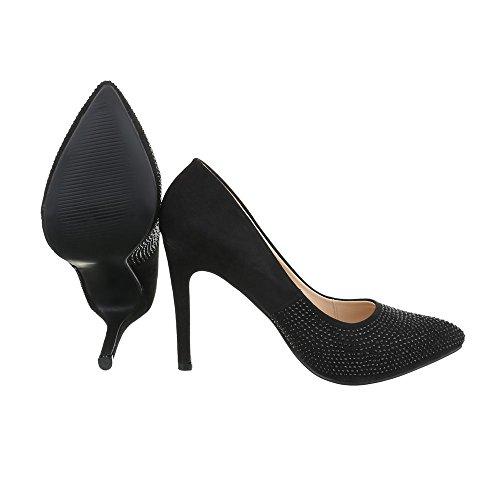 Ital-Design High Heel Damen-Schuhe Plateau Pfennig-/Stilettoabsatz High Heels Pumps Schwarz, Gr 40, Xf71-A-