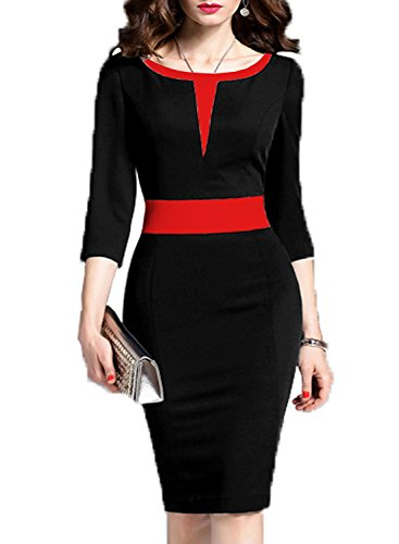 WOOSEA Women's 2/3 Sleeve Colorblock Slim Bodycon Business Pencil Dress (Medium, Black+Red #2)