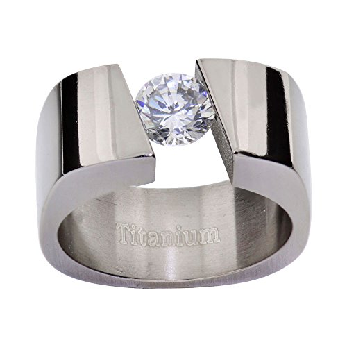 FlameReflection 8mm Women's Titanium Ring Wedding Band Tension Round Cubic Zirconia High Polish Solitaire Size 7.5 SPJ