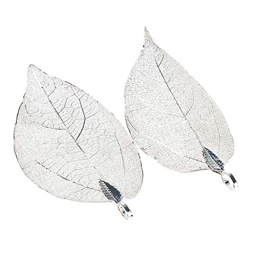- 2pcs Handmade Real Leaf Electroplated Finished Copper Filigree Leaf Pendant Necklace Jewelry Crafting Key Chain Bracelet Pendants Accessories Best| Color - Silver