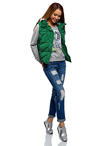 Mujer Acolchado Verde 6e00n Ultra con oodji Chaleco Capucha ptvxnU5zwq