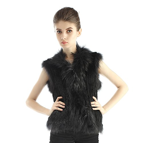 Genuine Rabbit Fur Vest (OLLEBOBO Women's Genuine Rabbit Fur Knitted Vest with Large Collar Size XL Black)