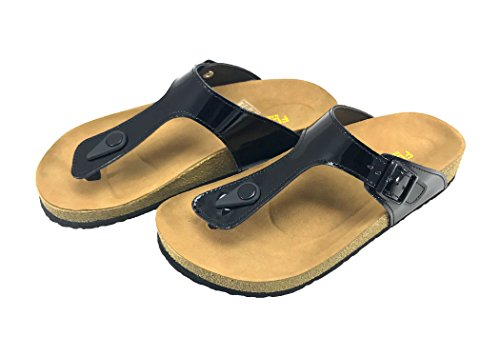 Alabama Women Casual Buckle Thong Strap Sandals Flip Flop Platform Footbed Trends Shoes (10 US, Patent Black)