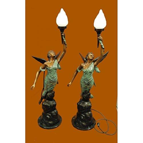 EUROPEAN BRONZE Pair bronze statue/lamp Hot Cast Museum Quality Artwork Figure - Bronze Artworks Lamp