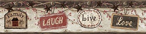 Love Wallpaper Border - Chesapeake CTR63152B Kinsey Black Live Laugh Love Wallpaper Border