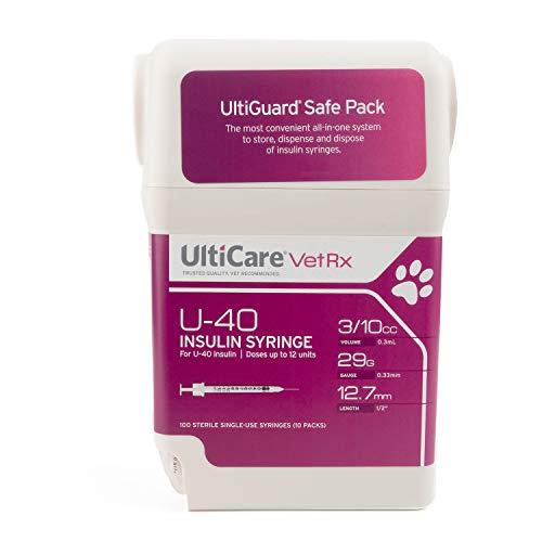 UltiCare VetRx U-40 UltiGuard Safe Pack Pet Insulin Syringes 3/10cc, 29G x 1/2