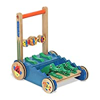 Melissa & Doug Chomp & Clack Alligator Push Toy, andador de actividad de madera, construcción robusta, emite sonidos cuando se empuja, 11.75 ″ H × 15 ″ An × 15 ″ L