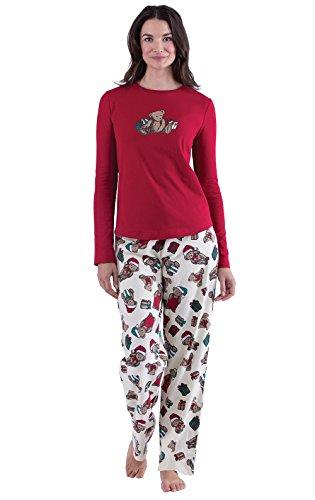 eddy Bear Christmas Women's Pajama Set, Red, SML (4-6) ()