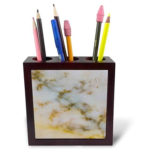 Mahogany Finish Beige Marble - 3dRose Alexis Photography - Texture Stone - Image of Marble Stone Texture of Beige and Bluish Colors - 5 inch Tile Pen Holder (ph_311707_1)