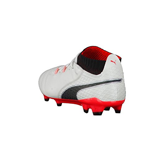 Puma One 17.1 Fg, Zapatillas de Fútbol para Hombre Blanco (White-black-fiery Coral)