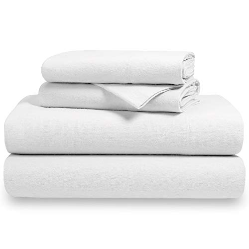 eet Set 100% Cotton, Velvety Soft Heavyweight - Double Brushed Flannel - Deep Pocket (Twin XL, White) ()