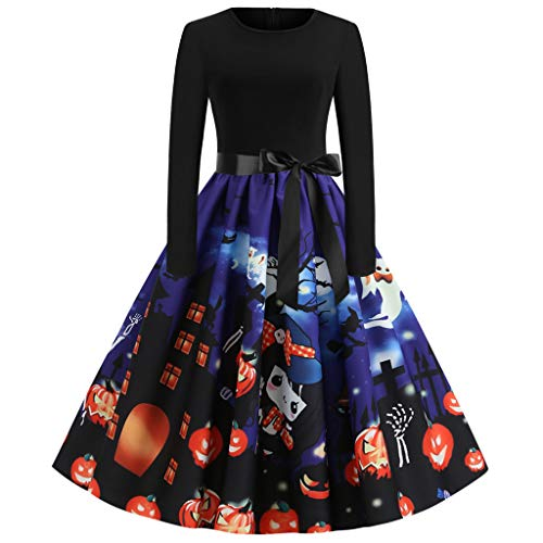50S Womens Dresses Sexy Cocktail Party Dress Vintage Halloween Evening Party Swing Dress Pumpkin Dress Up Clothing