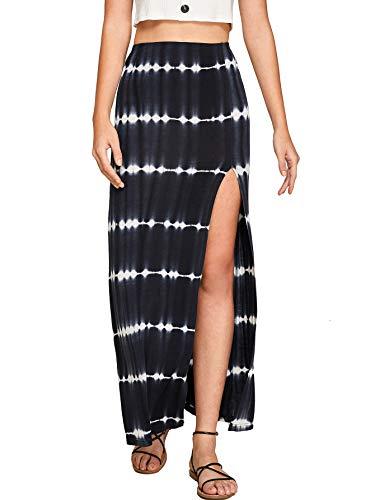 Hip Tie Dye Skirt - Verdusa Women's Solid Color High Waist Side Split Maxi Skirt Tie Dye Black XS