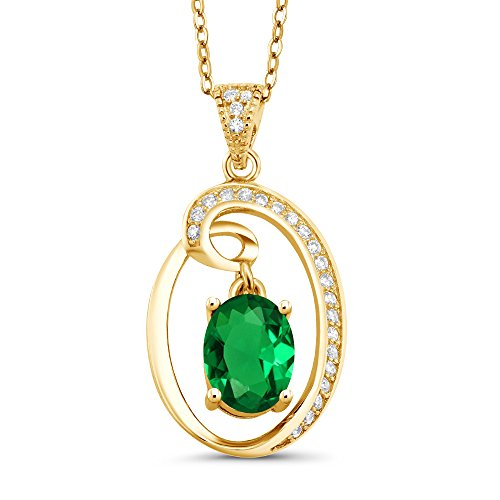 Gem Stone King 1.45 Ct Oval Green Simulated Emerald 18K Yellow Gold Plated Silver -