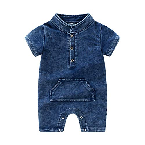 Longay Newborn Infant Baby Girls Boys Summer Denim Solid Romper Jumpsuit Outfits (6-12 Months, Blue)