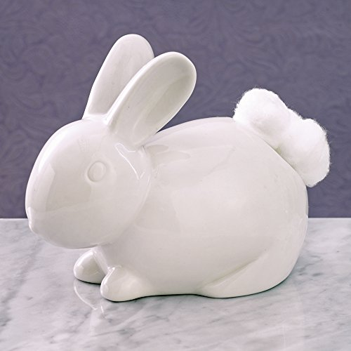 Bits and Pieces - Ceramic Bathroom Bunny Cotton Ball Holder - Cotton Tail White Rabbit Ceramic Cotton Ball Dispenser - Bathroom Novelty and Décor