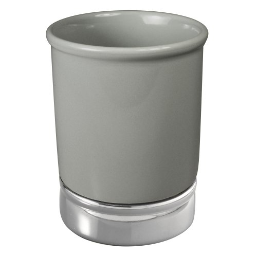 InterDesign York Tumbler Cup for Bathroom Vanity Countertops - Pewter/Chrome by InterDesign