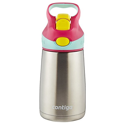 Contigo AUTOSPOUT Straw Striker Chill Stainless Steel Kids Water Bottle, 10 oz, Cherry Blossom (Ounces Of Milk For 4 Month Old)