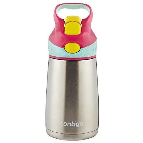 - Contigo AUTOSPOUT Straw Striker Chill Stainless Steel Kids Water Bottle, 10 oz, Cherry Blossom