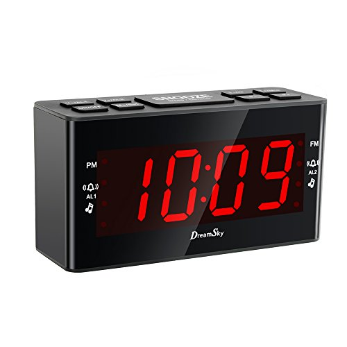 DreamSky Dual Alarms Clock Radio With AM/FM Radio - Am Fm Cd Desk Radio