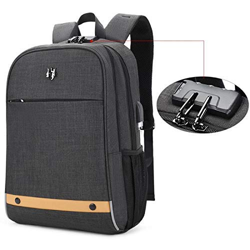Hoteon Golden Wolf Laptop Backpack with Rain Cover, Anti-Theft Locker, fits up to 15.6 inches Laptop, USB Port, Earphone Port, Water Resistant, Business and Travel Bag for Men & Women (Dark Grey)