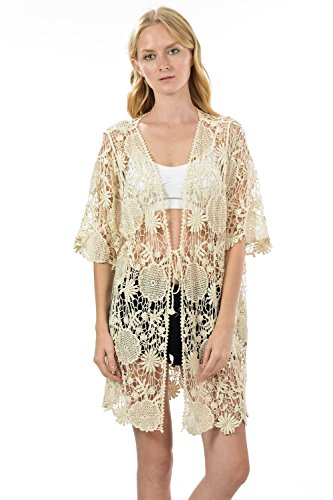 Sexy Crochet lace Short Sleeve Cardigan Blouse Top (ONE, Ivory) (Gold Crochet Cardigan)