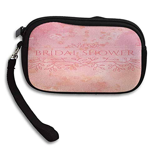 Bridal Shower Purse Bride Invitation Grunge Abstract Backdrop Floral Design Print W 5.9