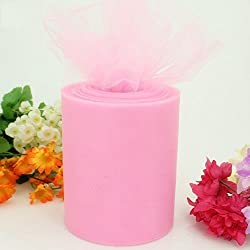 OUPER Decorated Light Pink Tulle Roll Spool for Party, Wedding and Tutu Makers