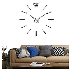 Vangold Frameless DIY Wall Clock, 2-Year Warranty 3D Mirror Wall Clock Large Mute Wall Stickers for Living Room Bedroom Home Decorations (Silver)
